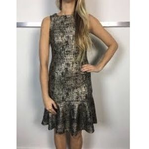Veronica M - metallic gold ruffle hem Ponte dress